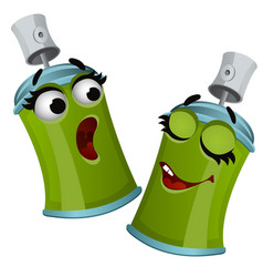 set of funny laughing green aerosol tin spray can vector image