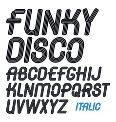 Set of italic capital funky alphabet letters vector