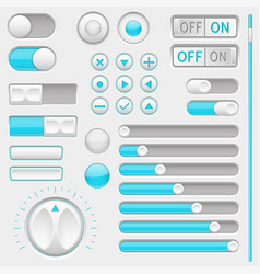 set of white and blue interface navigation buttons vector image