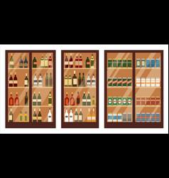 Shop alcohol shelves vector