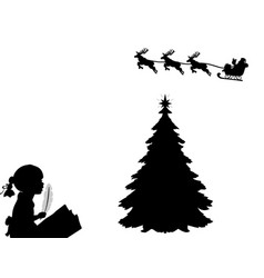 silhouette child writes letter to santa happy vector image