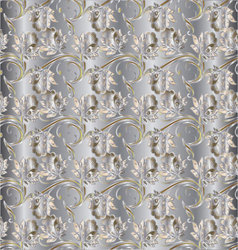Silver floral vintage seamless pattern vector