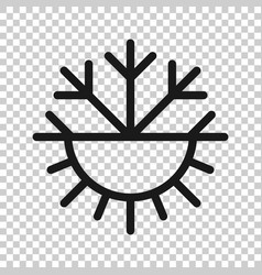 Snowflake and sun icon in flat style climate vector