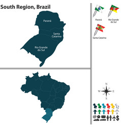south region of brazil vector image