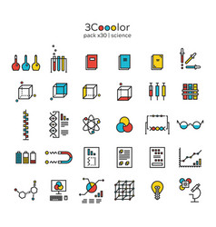 Stylized graphical colorful science icon set vector