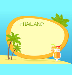 Thailand inscription in tag with yellow border vector