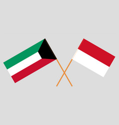 The indonesian and kuwaiti flags vector