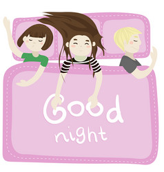 The kids sleep in the bedroom pink vector