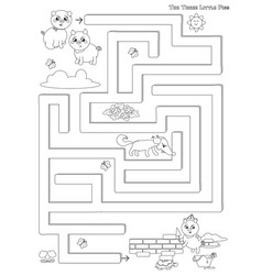 Three little pigs maze game vector