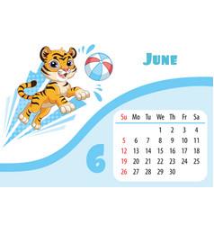 Tiger desk calendar design template for june 2022 vector
