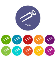 Tongs icons set color vector