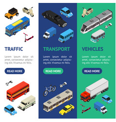 transport car 3d banner vecrtical set isometric vector image