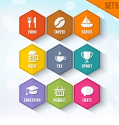 Trendy Rounded Hexagon Icons Set 5 vector image