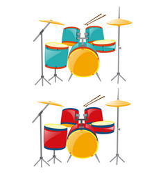 two sets of drumset in blue and red vector image
