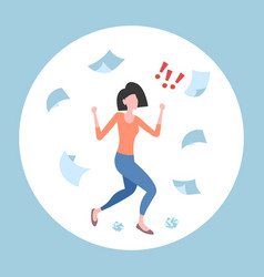 Unsatisfied businesswoman throwing paper sheets vector