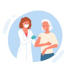 vaccine elderly patient cute doctor injecting vector image