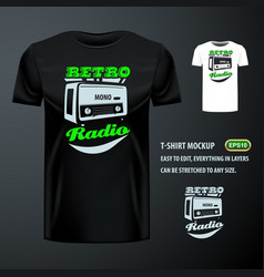 vintage t-shirt with stylish retro radio editable vector image