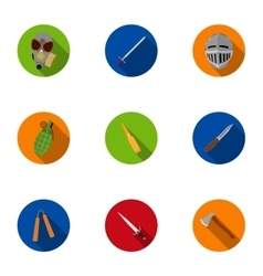 Weapon set icons in flat style Big collection of vector image