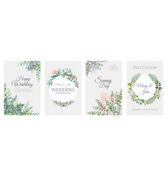 Wedding greenery posters green floral frame cards vector
