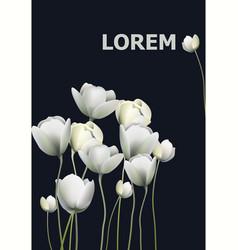 white flowers banner black background vector image