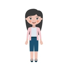Woman smiling with jacket and shorts vector