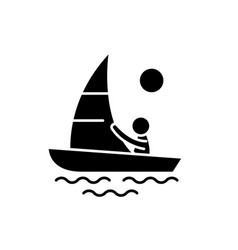 yachting black icon sign on isolated vector image