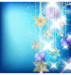 Beautiful blue christmas background vector image vector image