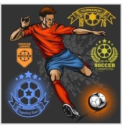 Colorful Soccer Player and football logos vector image vector image