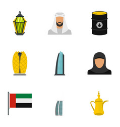 culture features of uae icons set flat style vector image vector image