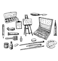 ink hand drawn painting tools and vector image vector image