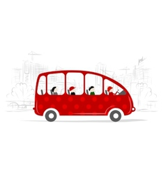 Red bus with people on the city street vector image vector image
