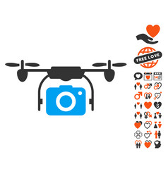 camera drone icon with lovely bonus vector image