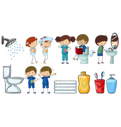 children doing different routine activities vector image