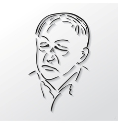 Drawing faces old men with eyes closed vector