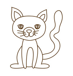 monochrome thin contour of cat sitting vector image vector image