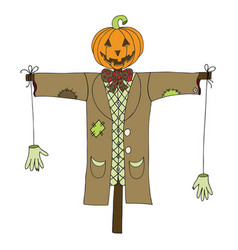 scarecrow isolated on white background vector image vector image