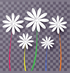 Set of abstract paper flowers 3d vector