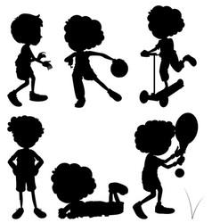 silhouette children doing different activities vector image vector image