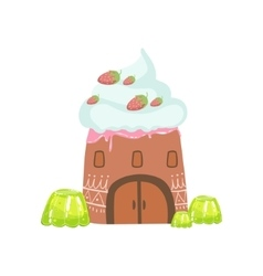 Tower Made Of Candy Whipped Cream And Jelly vector image vector image