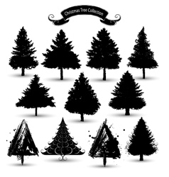 christmas tree silhouettes vector image