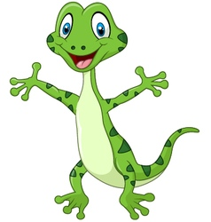 Cute green lizard posing isolated vector image