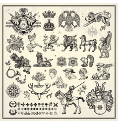 heraldic elements collection vector image
