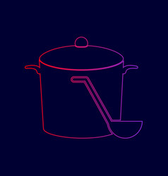 pan with steam sign line icon with vector image