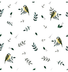 seamless pattern with leaves and small cute birds vector image