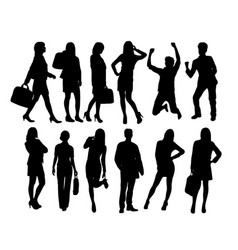 business people activity silhouettes vector image