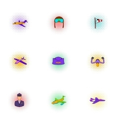 Flying device icons set pop-art style vector image vector image