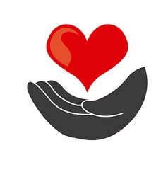 hand heart design vector image vector image