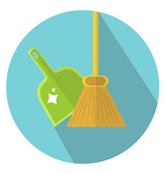 scoop and broom icon flat style cleaning icon vector image vector image