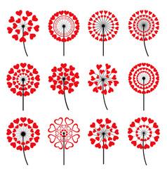 set of decorative dandelion heart shape vector image