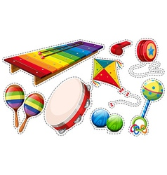 Sticker set of musical instrument and toys vector image